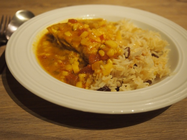 Curry de poulet, riz madras